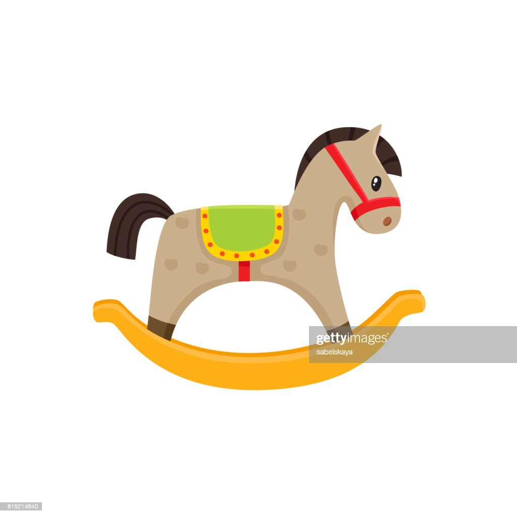 Vector rocking horse wooden toy flat illustration