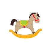 Vector rocking horse wooden toy flat illustration