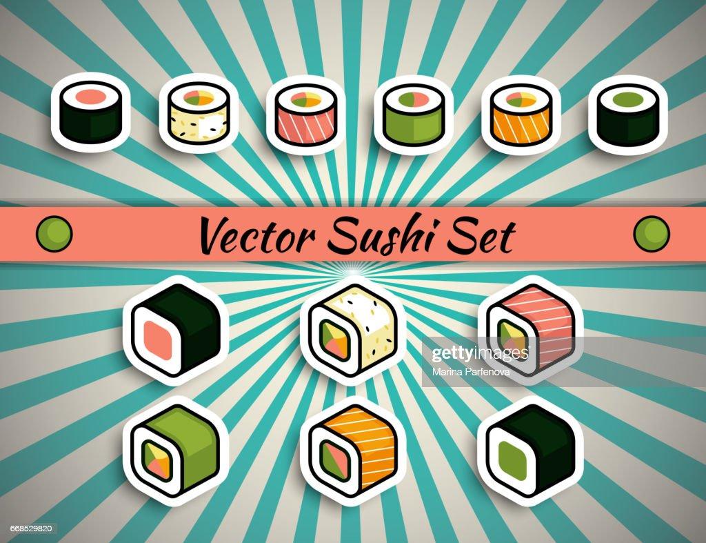 Vector rolls sushi set
