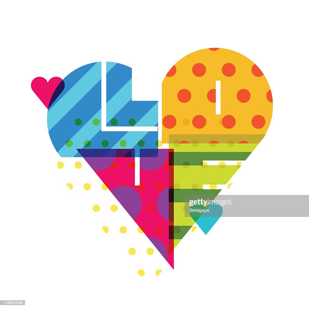 Vector romantic background, multicolor heart with pattern.
