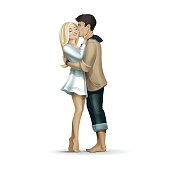 Vector Romantic Kissing Couple of Man and Woman in Love