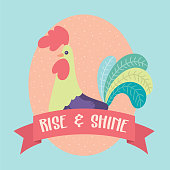 Vector Rooster Rise and Shine Illustration Clip Art Graphic