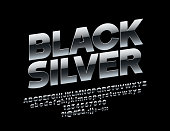 Vector rotated Black Silver Font