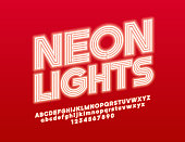Vector rotated Sign Neon Lights with Red glowing Font