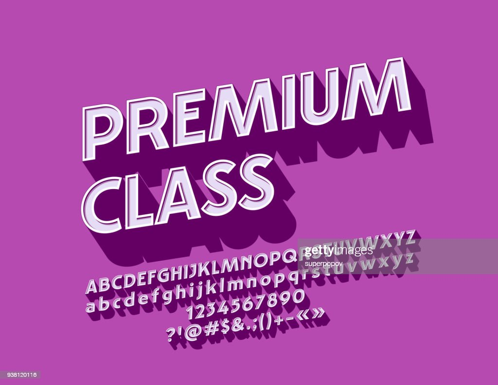 Vector rotated Vintage Premium Class Font