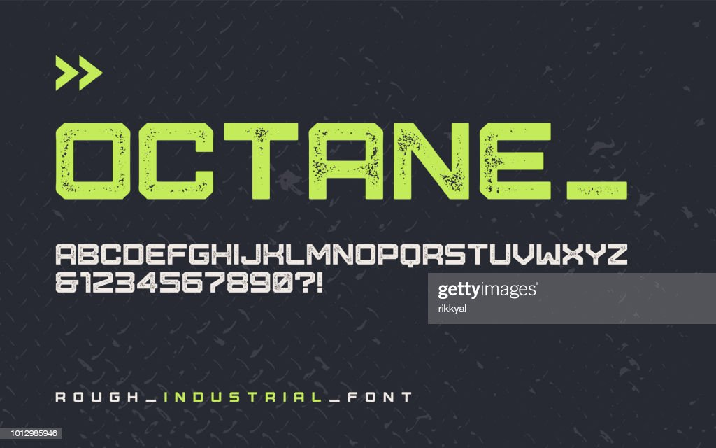 Vector rough industrial style display font, modern blocky typeface, futuristic uppercase letters and numbers, alphabet.
