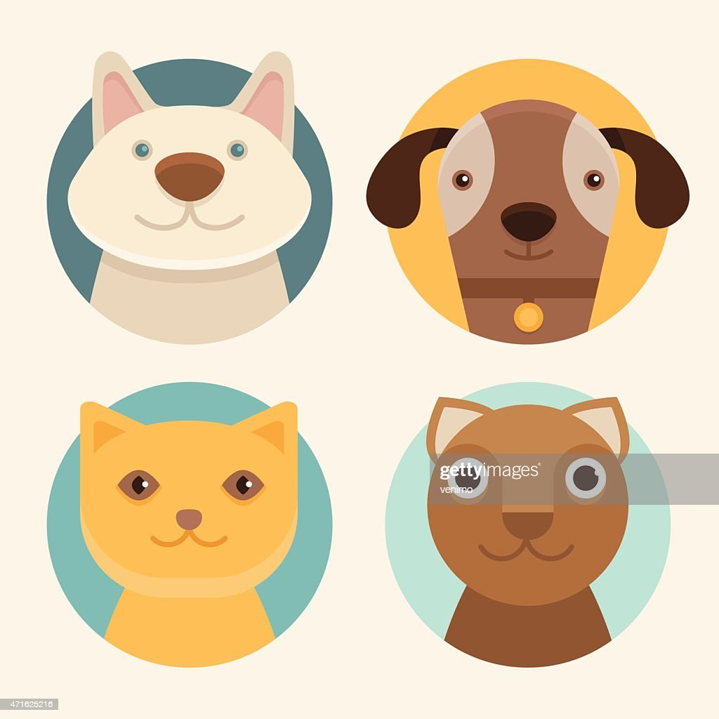 Vector round badges with cats and dogs