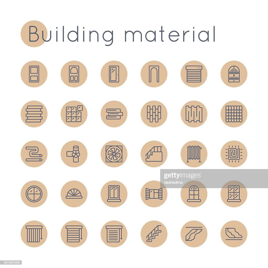Vector Round Building Material Icons