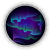Vector round composition with Aurora borealis lights in dotwork style on the night background.