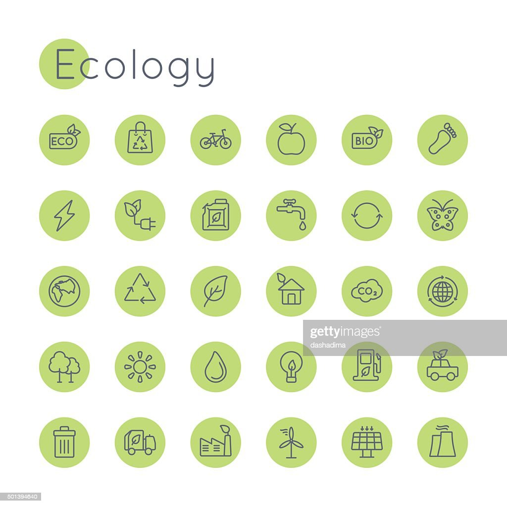 Vector Round Ecology Icons