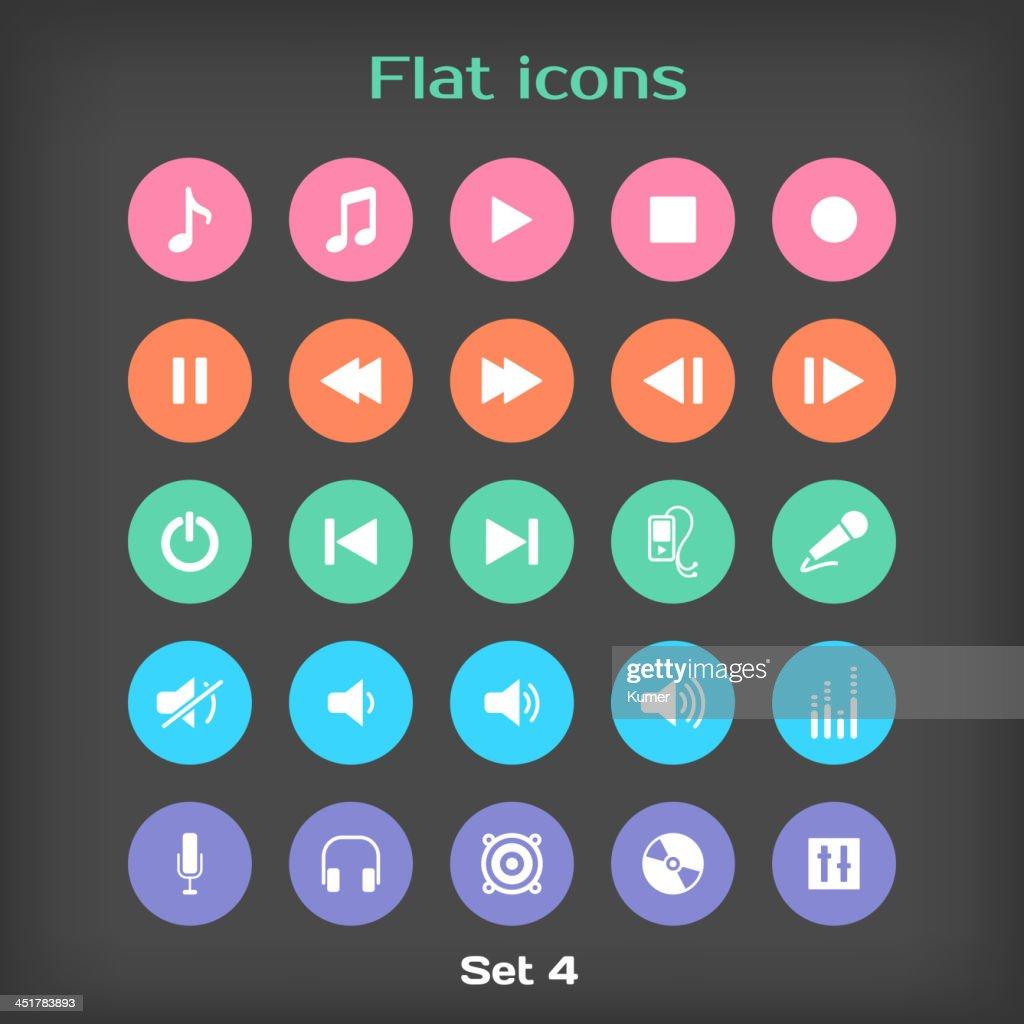 Vector Round Flat Icon Set