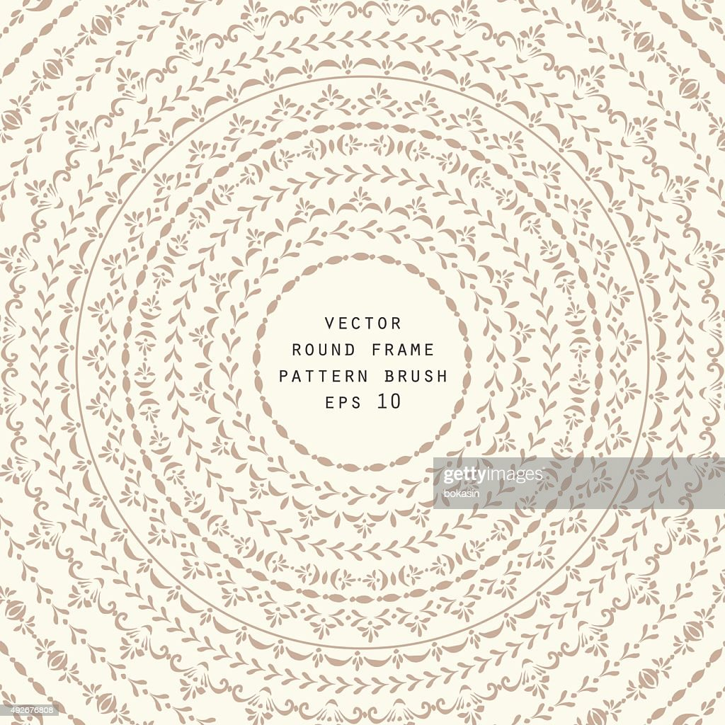 Vector round frame and pattern brush set retro style