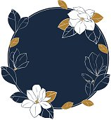 Vector round frame of magnolia flowers,buds and leaves in deep blue and bronze colors.