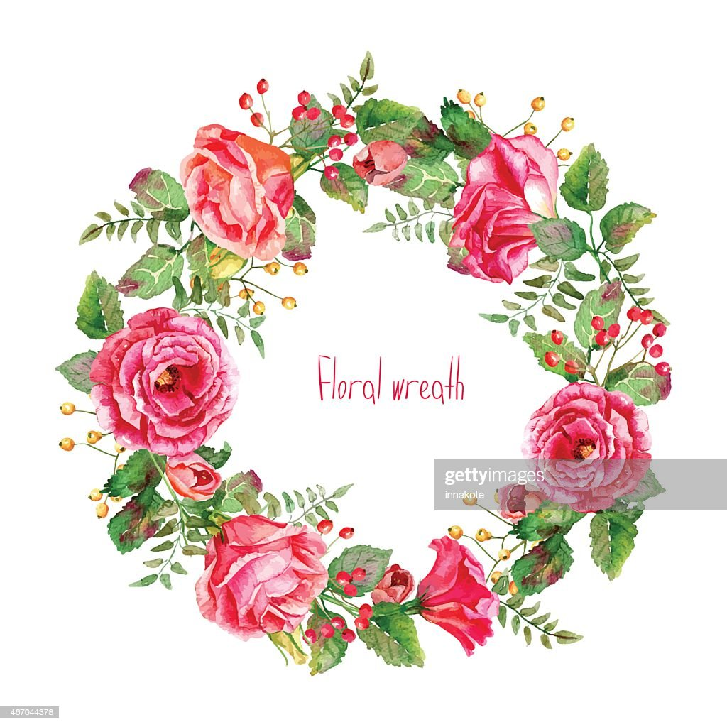 Vector round frame of watercolor roses and berries.