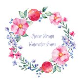 Vector round frame of watercolor roses. pomegranate and berries