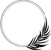 Vector round frame with palm leaf.