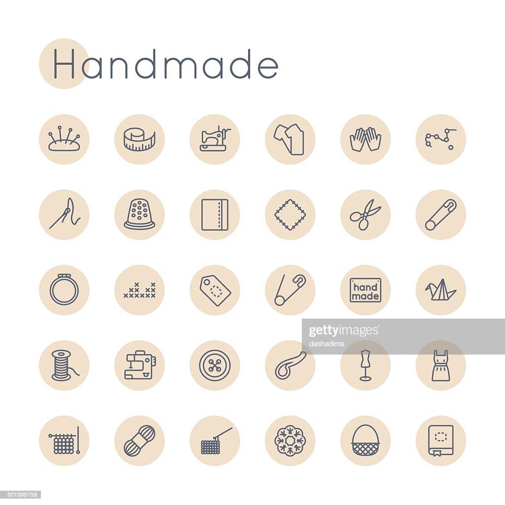 Vector Round Handmade Icons