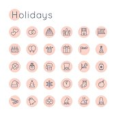 Vector Round Holidays Icons