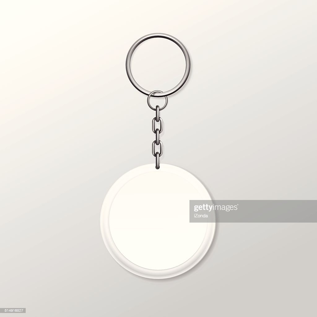 Vector Round Keychain with Ring and Chain Isolated on White