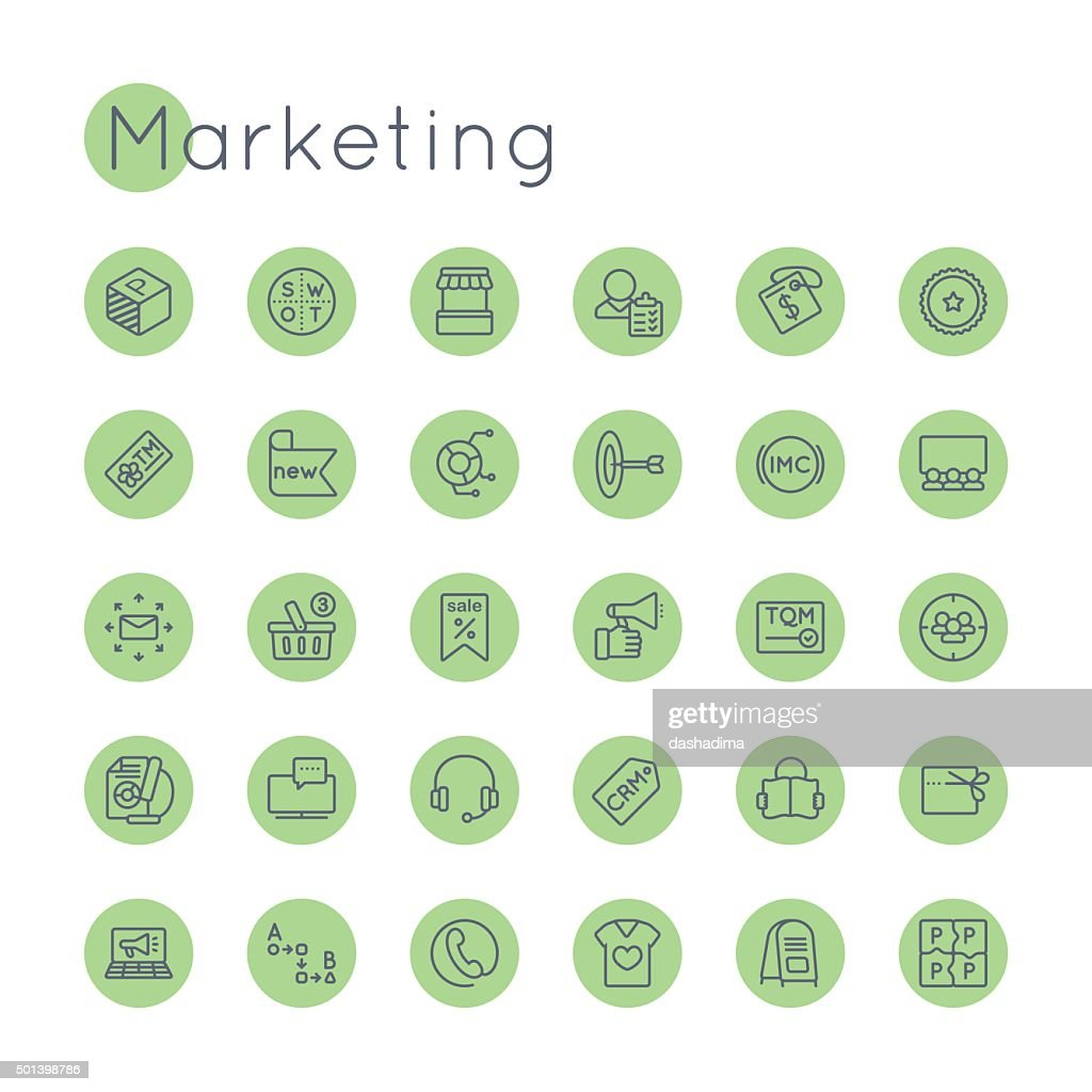 Vector Round Marketing Icons