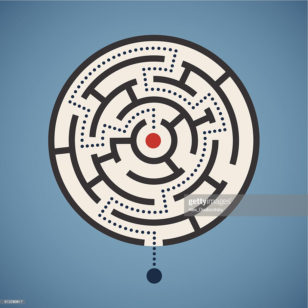 Vector round shape maze concept with path