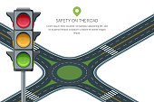 Vector roundabout road junction and traffic light isolated on white background. Safety street traffic and transport.