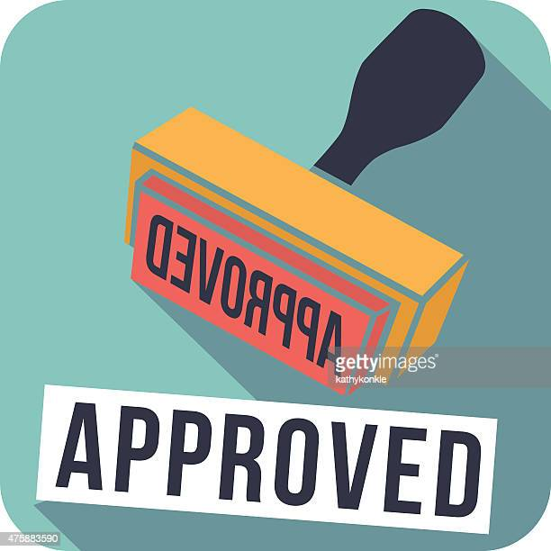 vector rounded corner square flat style approved stamp icon