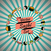 Vector rounded sushi set