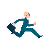 Vector running business man character in suit