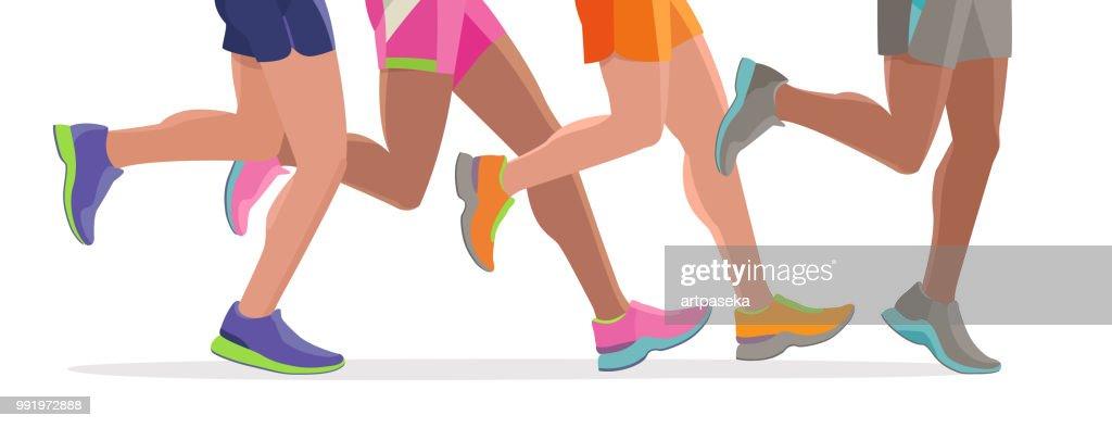 Vector Running feet of a massive marathon run start silhouette design template banner website