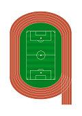 Vector running track and soccer field