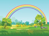 Vector Rural Landscape with Rainbow. Summertime Background with Park, Tree, Sky Illustration