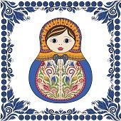 Vector russian folk ornamental matrioshka doll