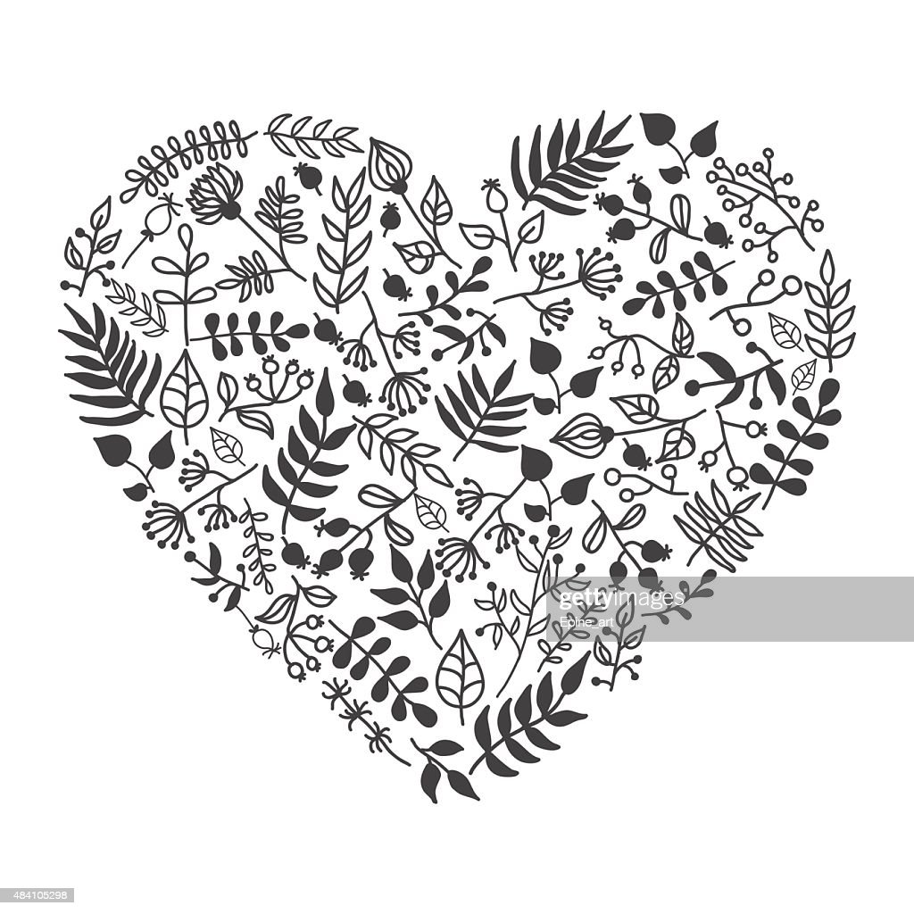 Vector rustic floral heart shape illustration. Hand-draw.