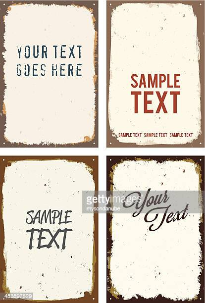 vector rusty metal sign templates - enamel stock illustrations