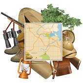 Vector Safari Concept with Map