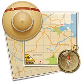 Vector Safari Map with Hat