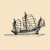 Vector sailing chinese junk ship in the sea in ink line style. Hand sketched sailing eastern boat.