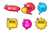 Vector sale labels, tags, speech bubbles, banners, logos, icons. Hand drawn doodle vector design