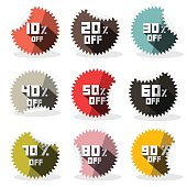 Vector Sale Retro Stickers - Labels