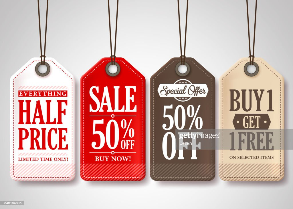 Vector Sale Tags Design Collection Hanging with Different Colors