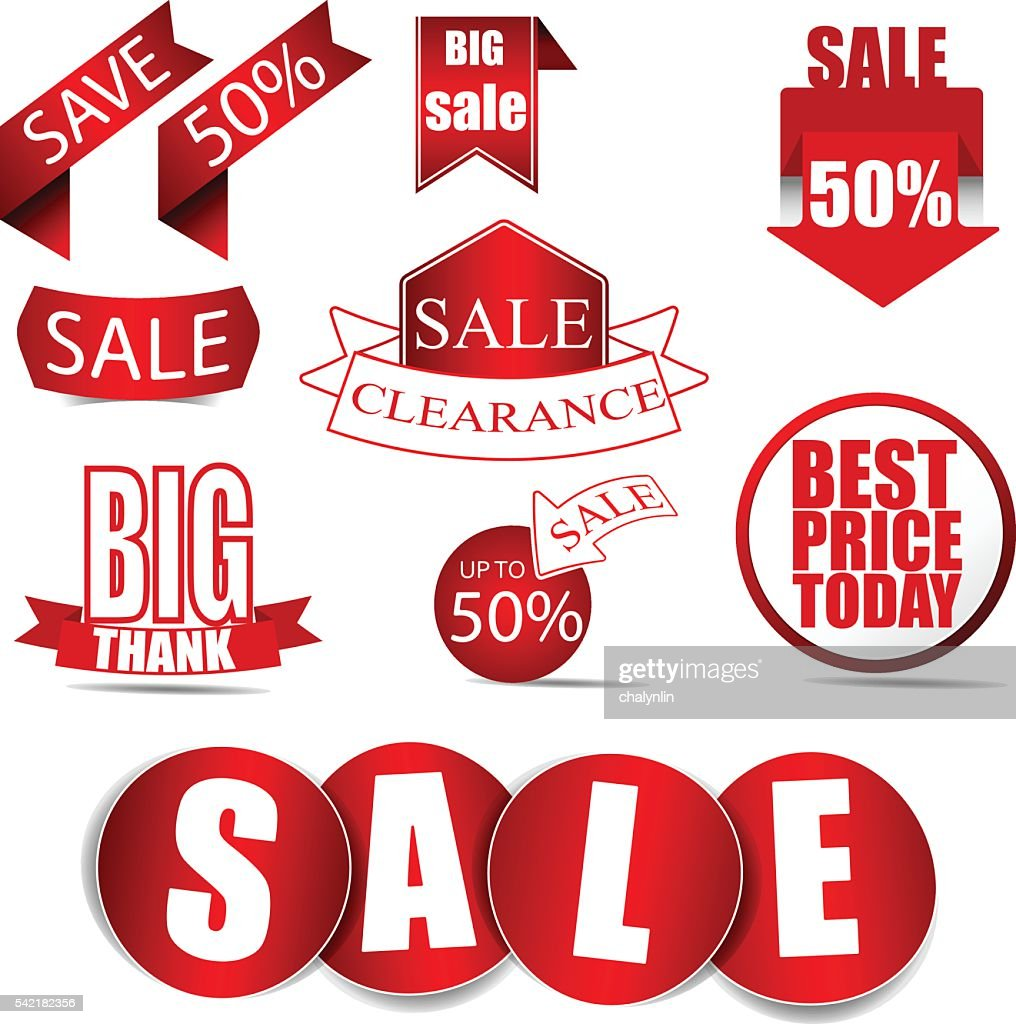 Vector Sale Tags ,Red Labels. Vector /Illustration