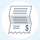 Vector sales receipt, line icon