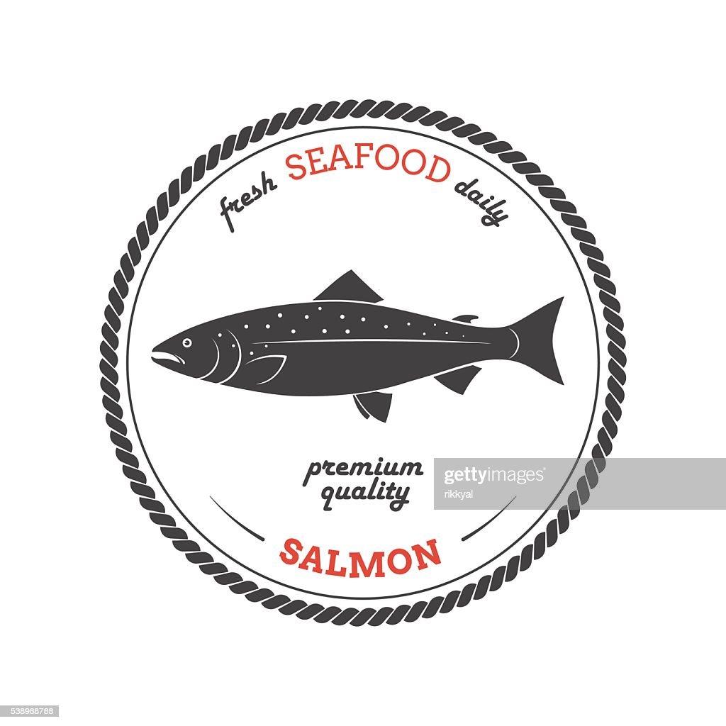Vector salmon silhouette. Salmon label.