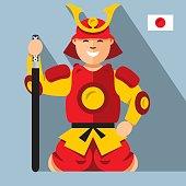 Vector Samurai japan. Flat style colorful Cartoon illustration.