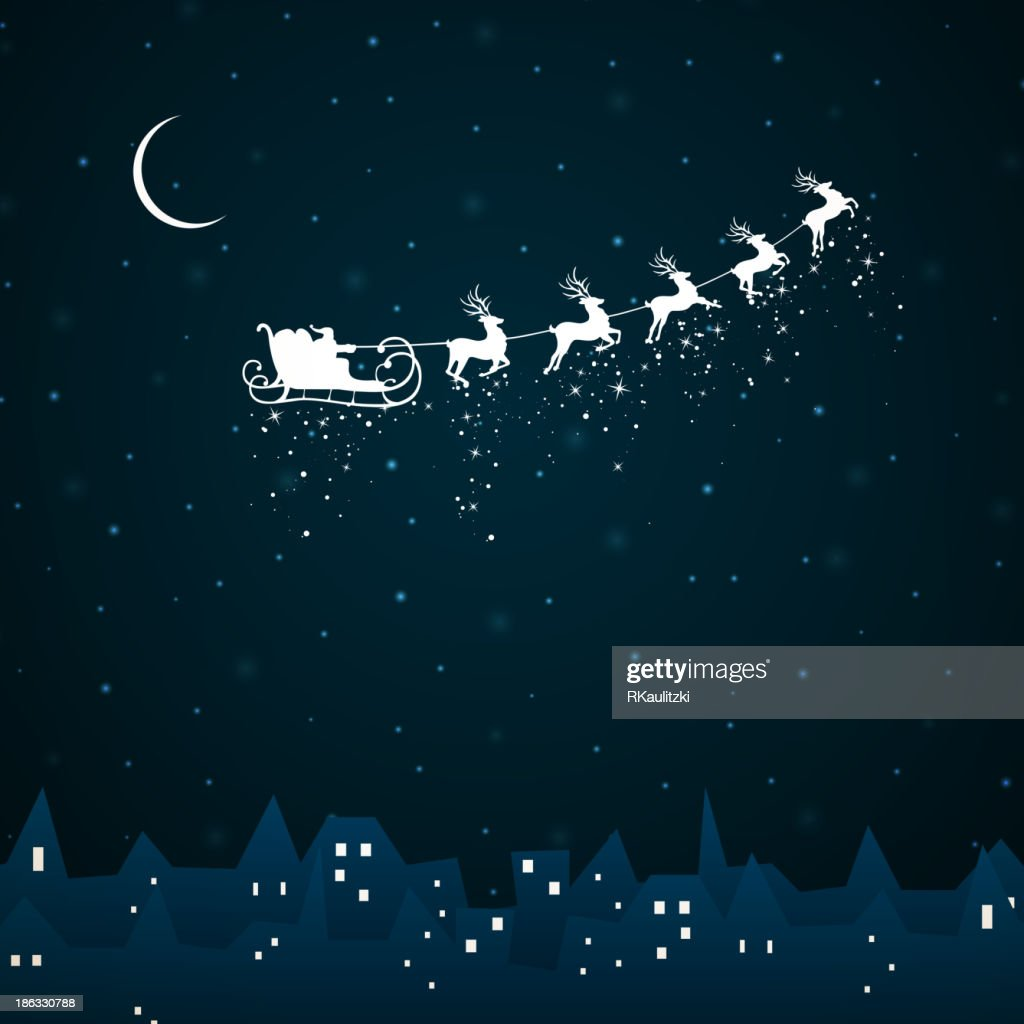 Vector Santa Claus coming to City