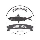 Vector sardine emblem, label. Template for stores, markets, food