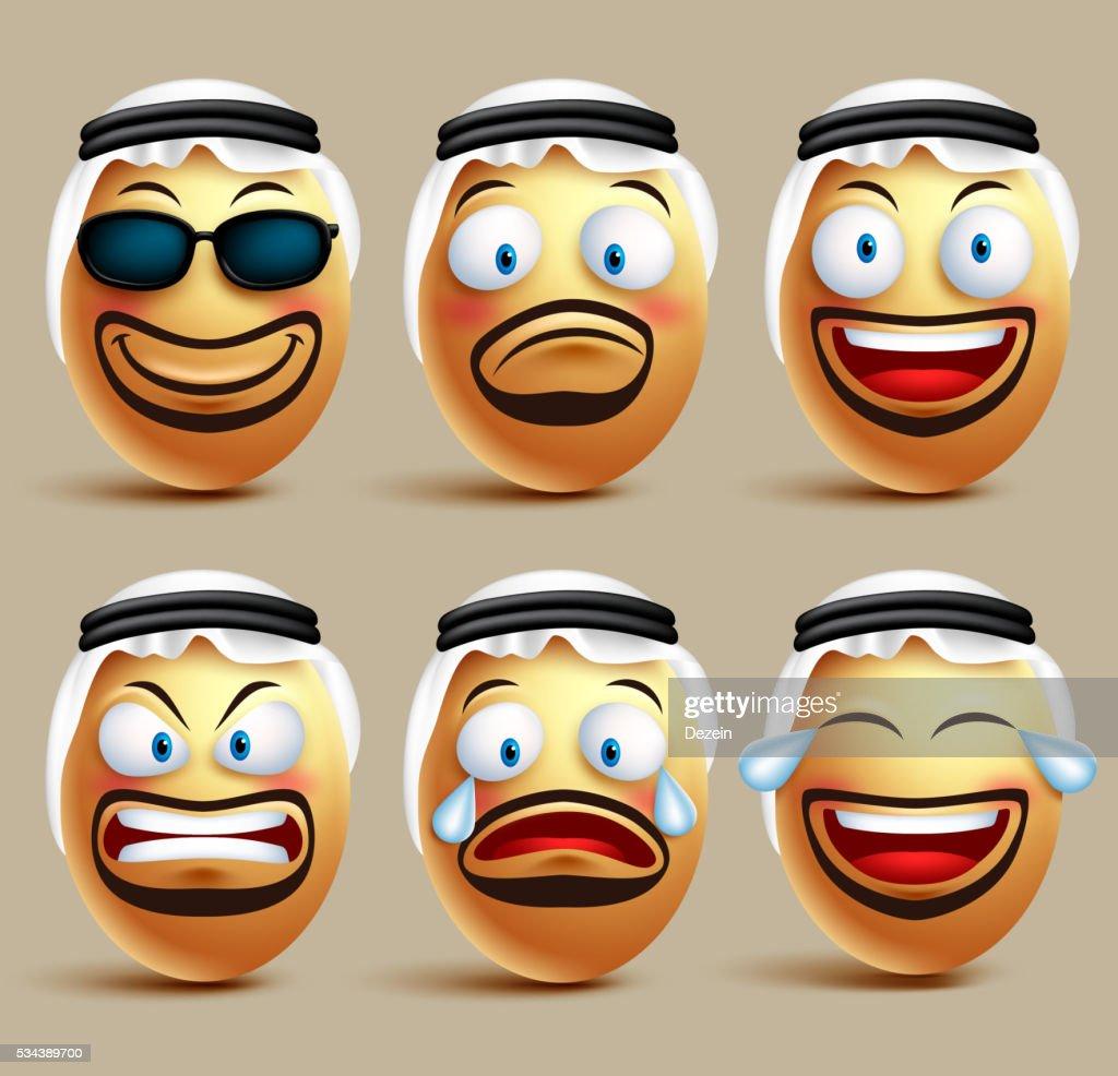 Vector saudi arab man egg faces set wearing ghutrah