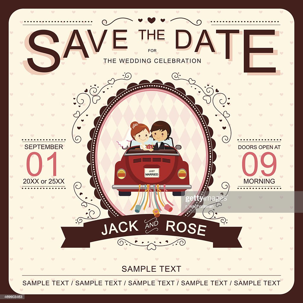 Vector 'Save the Date' wedding invitation template
