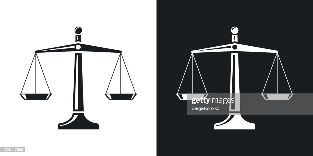 Vector scales of justice icon. Two-tone version